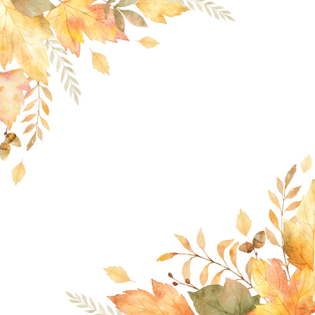 Watercolor vector frame of leaves and branches isolated on white background. 版權商用圖片 - 85132442