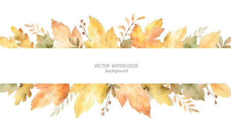 Watercolor autumn vector banner of leaves and branches isolated on white background.