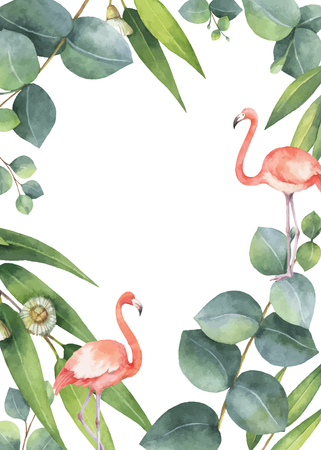 Watercolor vector card of eucalyptus leaves and the pink Flamingo isolated on white background.