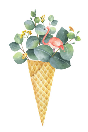 Watercolor creative vector bouquet from green leaves of eucalyptus and pink flamingo in a waffle cone.
