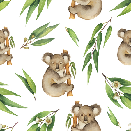 Watercolor vector seamless pattern with eucalyptus leaves and Koala isolated on white background.
