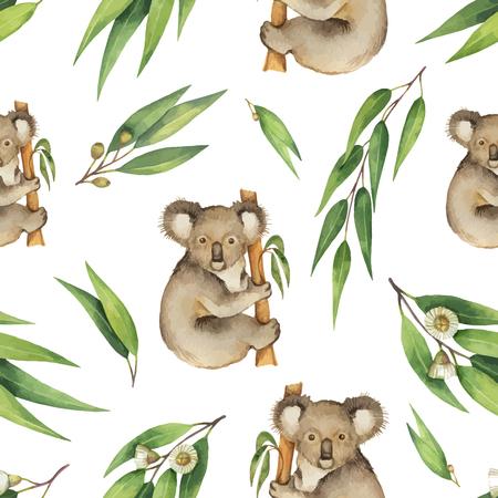 Modelo inconsútil del vector de la acuarela con las hojas del eucalipto y el koala aislada en el fondo blanco.
