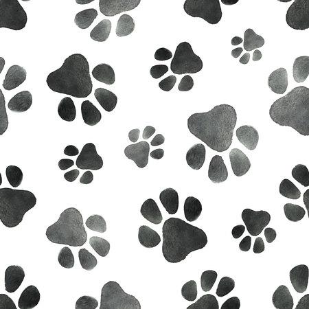 犬の足の痕跡を持つ水彩画ベクトルシームレスパターン。