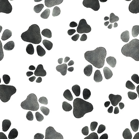 silueta de gato: Watercolor vector seamless pattern with the imprint of dog paws.