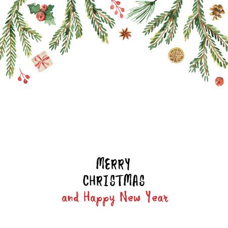 水彩ベクトル クリスマス バナーのモミの枝とテキストのための場所です。