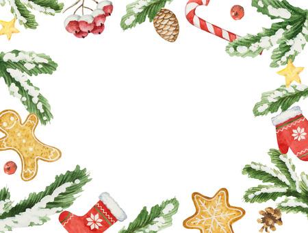Akwarela wektor Boże Narodzenie ramki z oddziałów jodła i miejsce dla tekstu. Ilustracje wektorowe