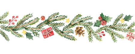 Aquarellvektor Weihnachtsfahne mit Tannenzweigen und Platz für Text.