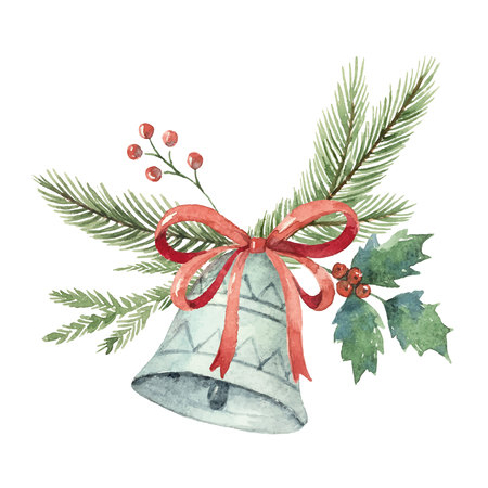 Watercolor Christmas vector bouquet with bell and fir branches.  イラスト・ベクター素材