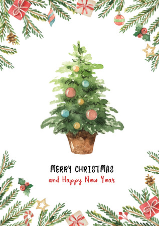 Watercolor vector greeting card with Christmas tree, spruce branches and gifts.