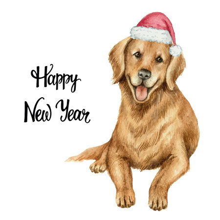 Watercolor vector retriever in Santa Claus hat isolated on white background.