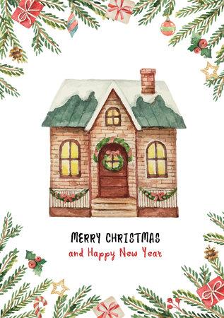 수채화 벡터 인사말 카드로 크리스마스 하우스, 가문비 나무 분기 및 선물.