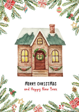 Watercolor vector greeting card with Christmas house, spruce branches and gifts. Иллюстрация