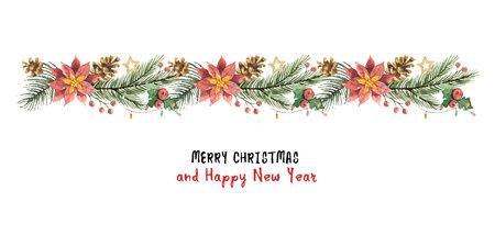 Banner de Navidad vector acuarela con ramas de abeto y flor de nochebuenas. Ilustración de vector