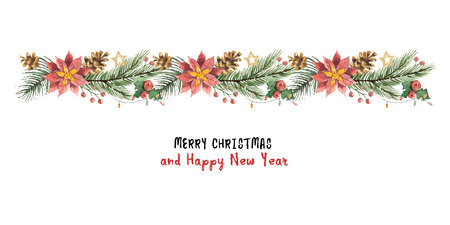 Watercolor vector Christmas banner with fir branches and flower poinsettias. Vettoriali