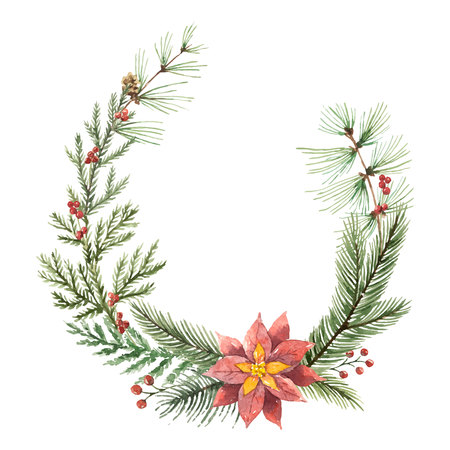 Christmas wreath watercolor design. Illustration
