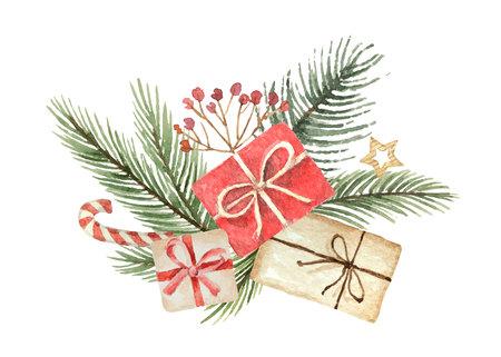 Christmas decor watercolor design.
