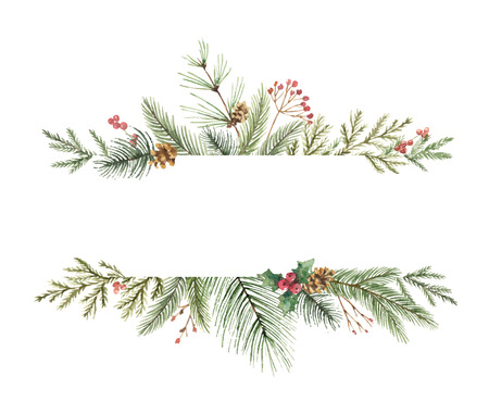 Christmas decor watercolor design.