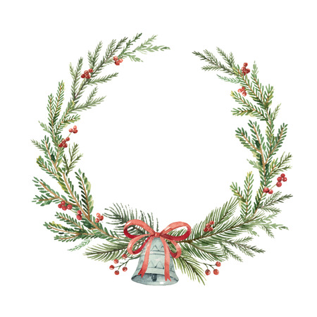 Watercolor christmas wreath with bell illustration.