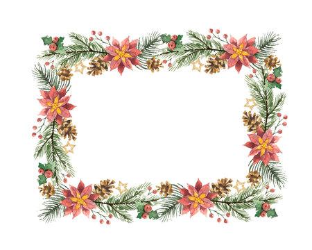 ベルのイラストを水彩画のクリスマス リース。  イラスト・ベクター素材