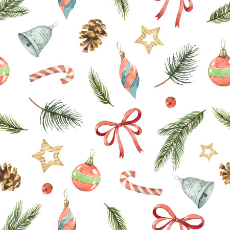 Watercolor Christmas pattern. Vettoriali