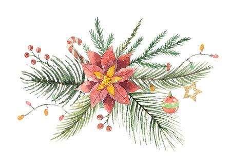 꽃 poinsettias와 전나무 분기와 수채화 크리스마스 벡터 꽃다발.