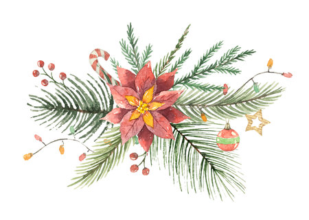 Watercolor Christmas vector bouquet with flower poinsettias and fir branches. Banco de Imagens - 88651842