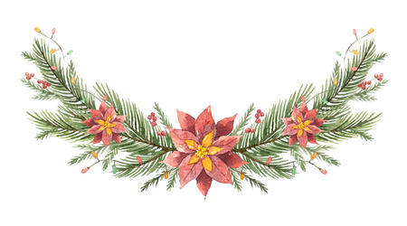 Watercolor vector Christmas wreath with fir branches and flower poinsettias.