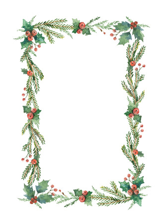 Watercolor Christmas frame.