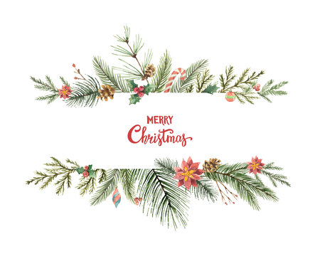 Watercolor vector Christmas banner with fir branches and place for text.