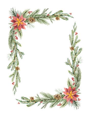 Aquarellvektor Weihnachtsrahmen mit Tannenzweigen und Platz für Text. Standard-Bild - 88695168