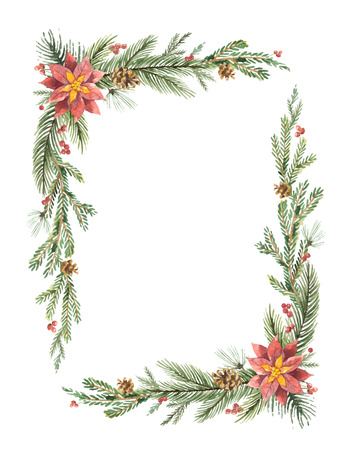 Watercolor vector Christmas frame with fir branches and place for text. Zdjęcie Seryjne - 88695168