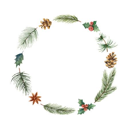 水彩クリスマス フレームのモミの枝とテキストのための場所。  イラスト・ベクター素材