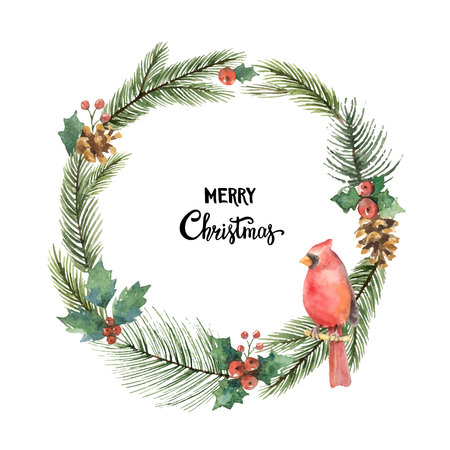 Marco de Navidad vector de acuarela con ramas de pájaro cardenal y abeto. Foto de archivo - 88695427