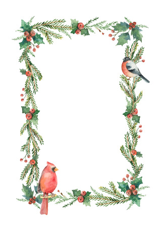 Watercolor vector Christmas bouquet with birds and fir branches.
