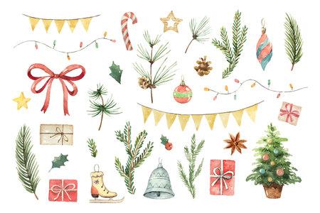 Akwarela wektor zestaw świąteczny z gałęzi jodły, kule, prezenty, girlandy i łuk. Ilustracje wektorowe
