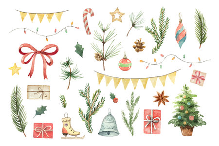 Watercolor vector Christmas set with fir branches, balls, gifts, garlands and bow.