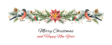 Watercolor vector Christmas banner with fir branches, bullfinch and flower poinsettias. 写真素材