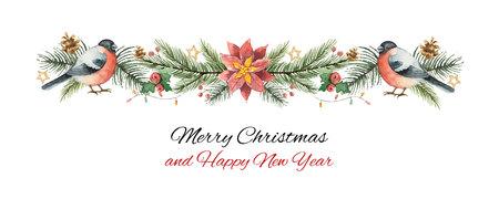 Banner van waterverf de vectorkerstmis met spartakken, goudvink en bloempoinsettia. Stockfoto - 89036306
