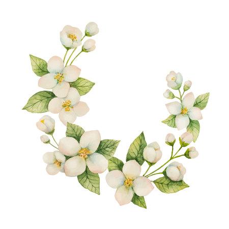 花と枝の水彩ベクトル花輪ジャスミン ホワイト バック グラウンド上に分離。