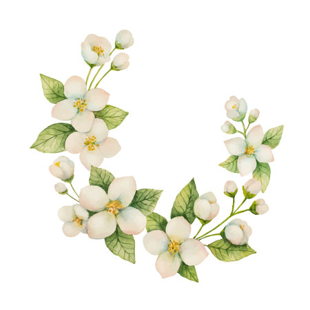 꽃과 나뭇 가지의 수채화 벡터 헌화 재 스민 흰색 배경에 고립.