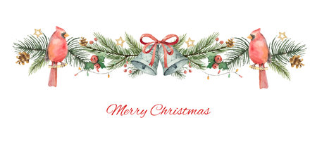 Watercolor vector Christmas banner with fir branches, Bird Cardinal and bells.