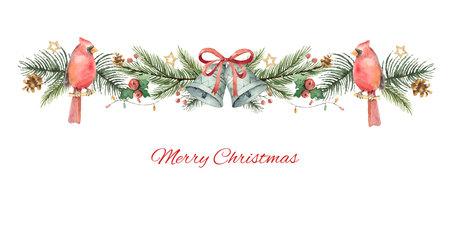 Banner de Navidad vector acuarela con ramas de abeto, pájaro cardenal y campanas. Ilustración de vector