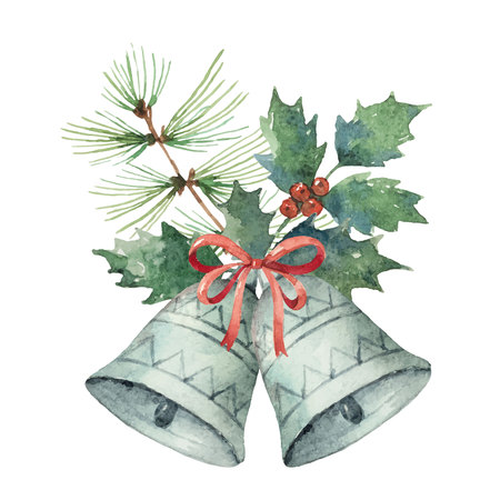 Watercolor Christmas vector bouquet with bell and fir branches. Illustration for greeting cards and invitations isolated on white background.