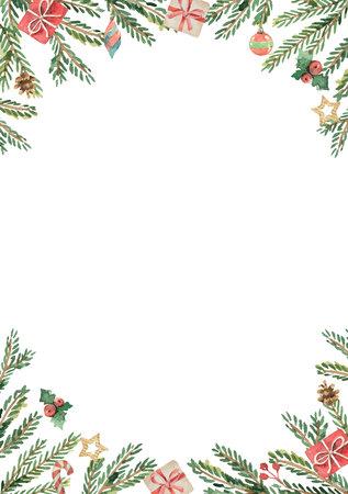 モミの枝とテキストのための場所で水彩ベクトルクリスマスカード。白の背景に分離グリーティングカードや招待状のイラスト。