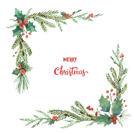 Watercolor vector Christmas decorative corner with fir branches and flower poinsettias. Illustration for greeting cards and invitations isolated on white background. 免版税图像 - 89691808