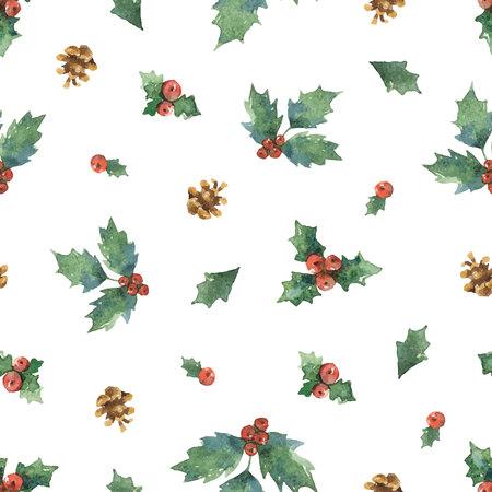 수채화 벡터 크리스마스 원활한 패턴과 전나무 분기합니다. 일러스트