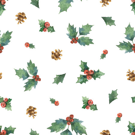 Watercolor vector Christmas seamless pattern with fir branches. Çizim