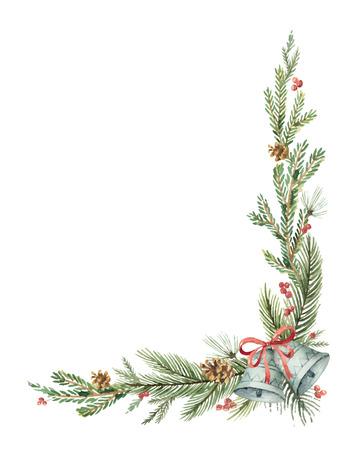 Akwarela wektor Boże Narodzenie dekoracyjny narożnik z gałęzi jodłowych i dzwonów.