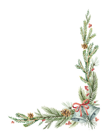 Watercolor vector Christmas decorative corner with fir branches and bells.