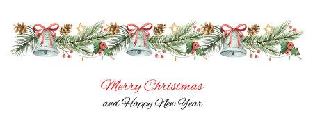 Banner de Navidad vector acuarela con ramas de abeto y campanas.